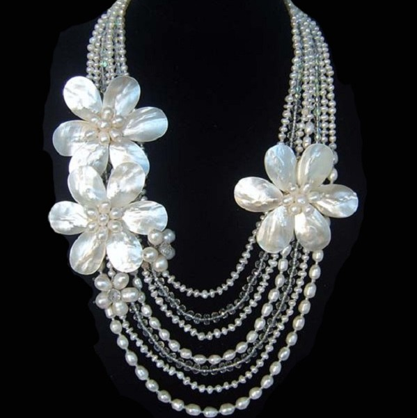 Freshwater Pearl, Mother of Pearl Shell Flower & Crystal