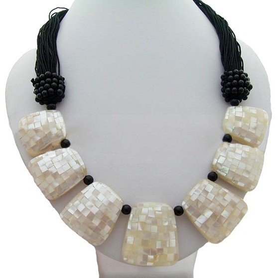 Natural Paua Abalone Shell & Onyx Necklace.