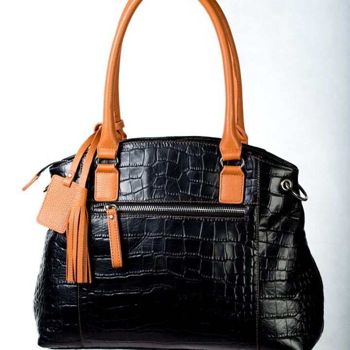 Black & Brown Croco Leather Bag