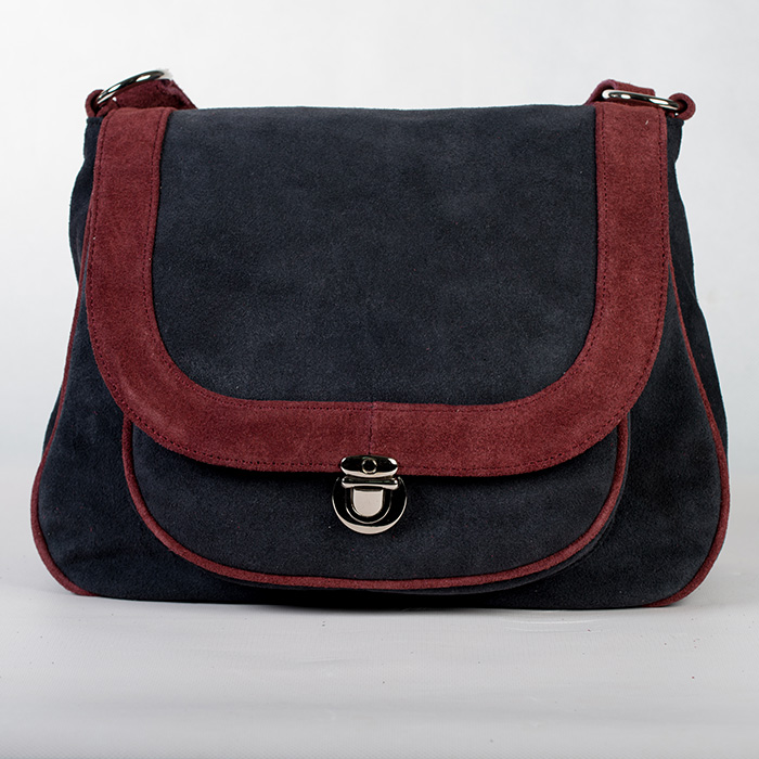 Black Suede Leather Handbag
