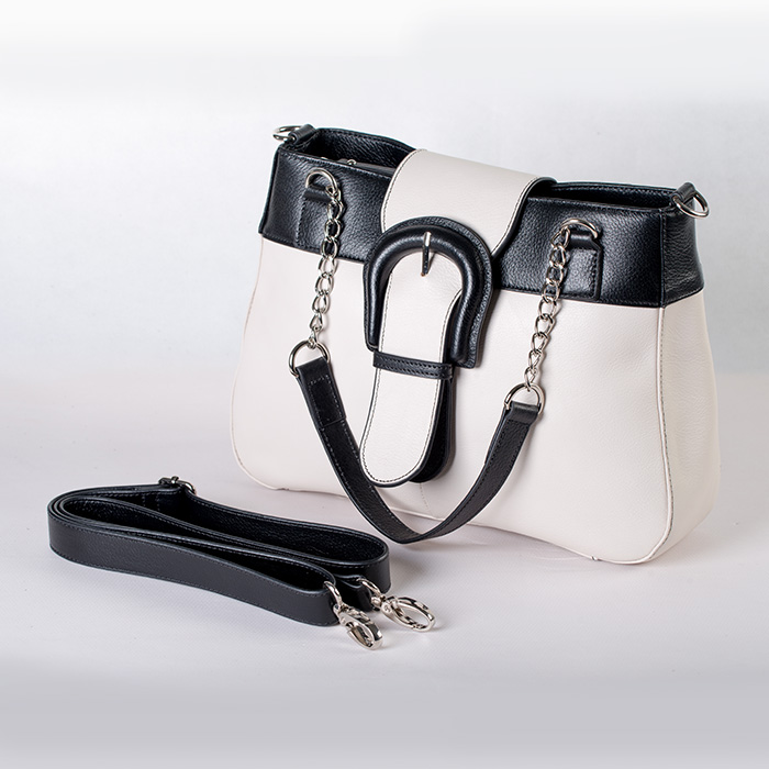 BLACK AND WHITE LEATHER SHOULDER LEATHER HANDBAG