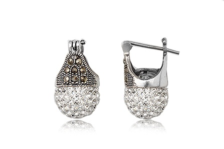 Sterling Silver Marcasite Crystal Lady Di Earrings