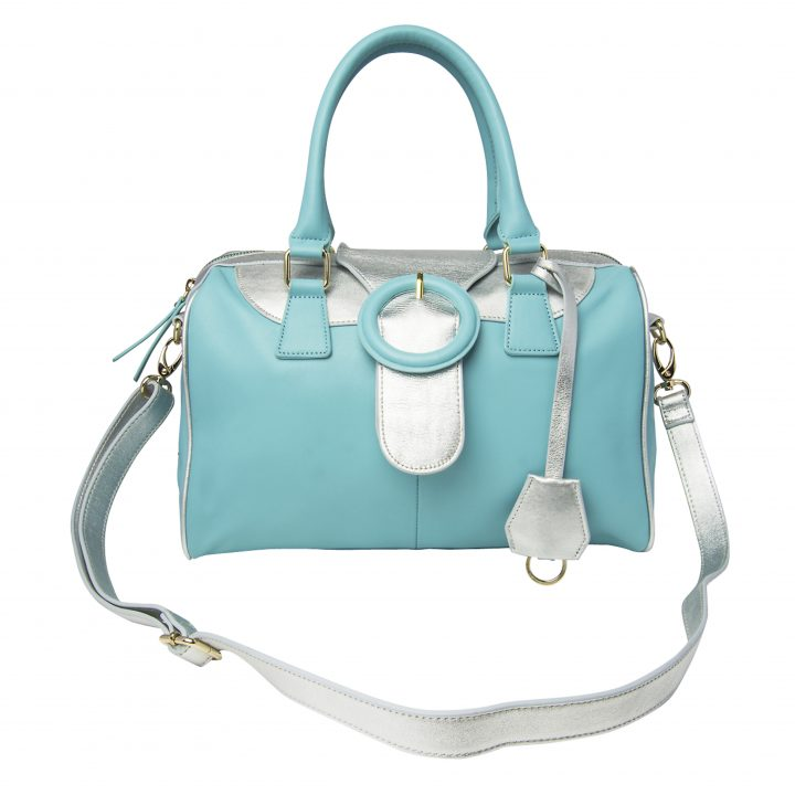 Aqua & Silver Leather Barrell Leather Handbag
