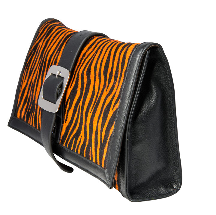Black & Orange Animal Print Fur Cow Hide Leather Clutch