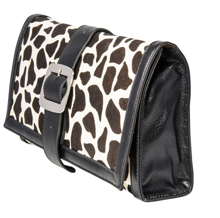 Black & White Print Fur Cowhide Leather XL Clutch
