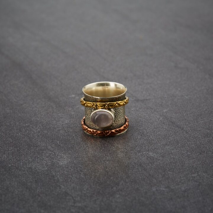 Hammered Sterling Silver with Brass & Copper Spinner Moonstone Ring