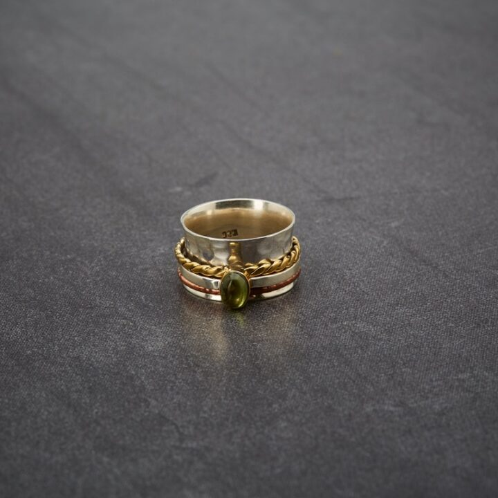 Sterling Silver Brass, Copper Spinner Ring with Peridot