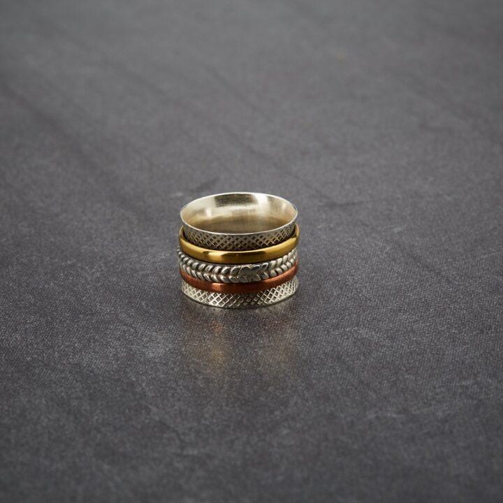 Sterling Silver Brass, Copper Spinner Ring